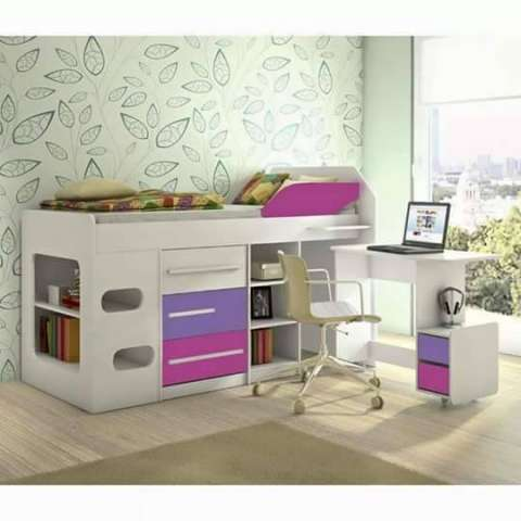 Cama Sleep Teen con escritorios y cajones